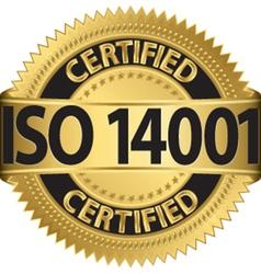 Iso 14001 certified golden label vector