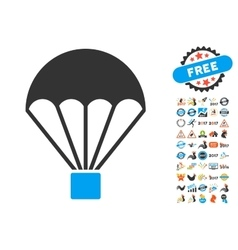 Parachute Icon With 2017 Year Bonus Symbols vector image vector image