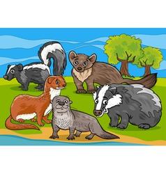 mustelids animals cartoon vector image