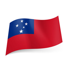 national flag of samoa red background and blue vector image vector image
