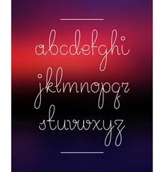 Neon hand lettering drawn font alphabet vector image