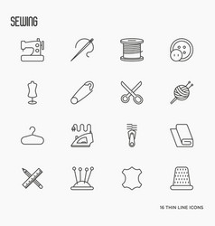 sewing equipment thin line icons set vector image vector image