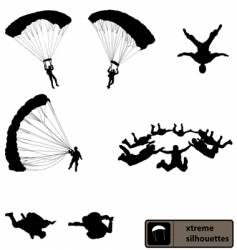 skydiving silhouettes vector image vector image