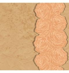 Vintage background rose in the corner of old paper vector image vector image