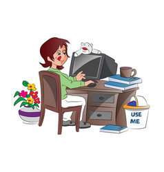 young woman working from home vector image vector image