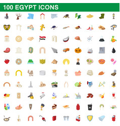 100 egypt icons set cartoon style vector image vector image
