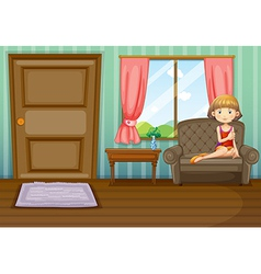 A woman sitting inside the house vector image vector image