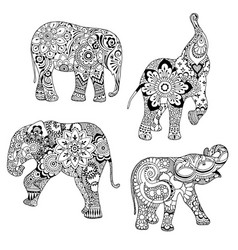 elephants ornate decorated vector image vector image
