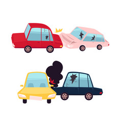 flat cartoon car accident isolated vector image