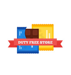 flat icon of duty free chocolate bars at vector image