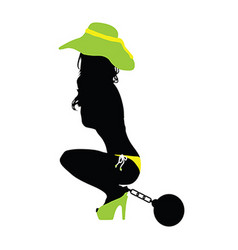 girl sensual silhouette color with prision ball vector image vector image