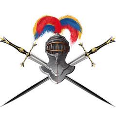 helmet and crossed swords vector image