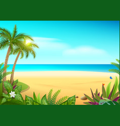 tropical paradise island sandy beach palm trees vector image vector image