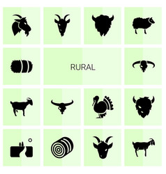 14 rural icons vector