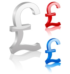 3D british pound symbol vector image