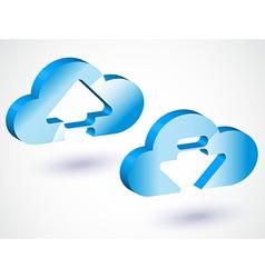 3d cloud upload vector