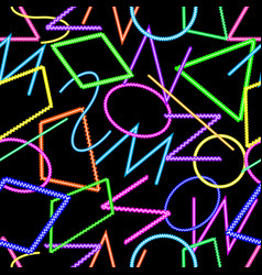 Abstract geometric seamless pattern neon colors vector