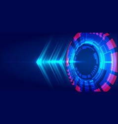 Abstract technology blue hud circle light beam vector