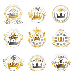 Ancient crowns emblems set heraldic design vector