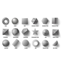 basic 3d shapes top view realistic pyramid shape vector image
