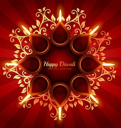 beautiful diwali greeting background with floral vector image