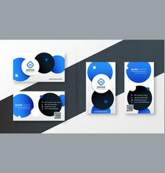 Blue circles modern business card design template vector
