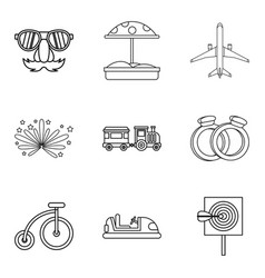 Boarding school icons set outline style vector