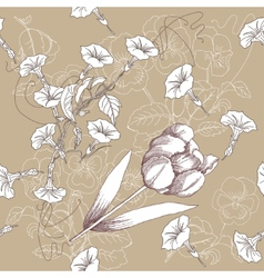 Brown seamless pattern with flowers vector image