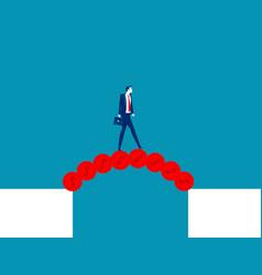 Businessman cross abyss with a bridge money vector