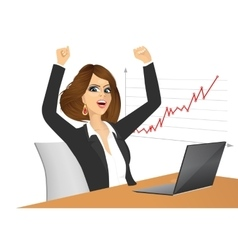 Businesswoman with arms up vector