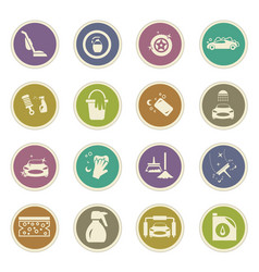 car wash shower service icons set vector image
