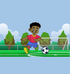 cartoon black boy soccer player in field vector image