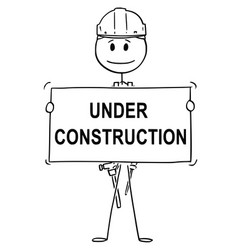 cartoon of workman or technician holding under vector image