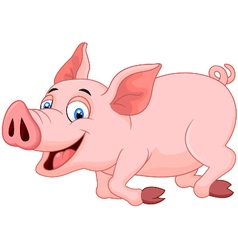 Cartoon pig running vector image