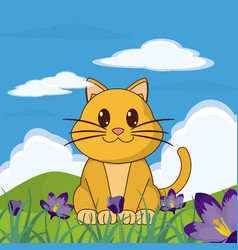 cat cute animal in landscape vector image