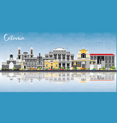 Catania italy city skyline with gray buildings vector
