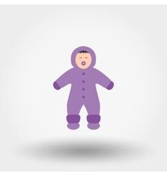Child in winter overalls icon vector