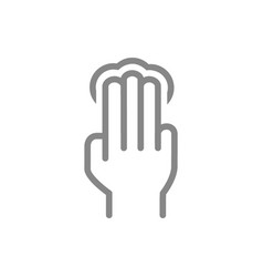 Click with three fingers line icon multi touch vector