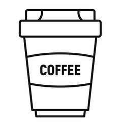 coffee plastic cup icon outline style vector image