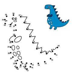 Connect the dots and draw a cute dinosaur vector