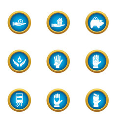 Contribution icons set flat style vector