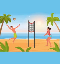 couple people play beach volleyball young man vector image