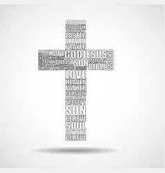 Cross of religious words vector