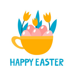cup with eggs and willow for easter isolated on vector image