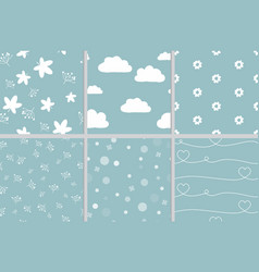 cute doodle white on green blue background vector image