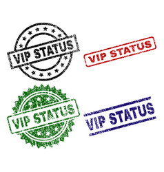 damaged textured vip status seal stamps vector image