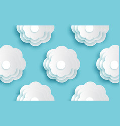 Decorative white round pattern flowers and paper vector