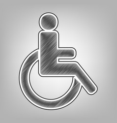 Disabled sign pencil sketch vector