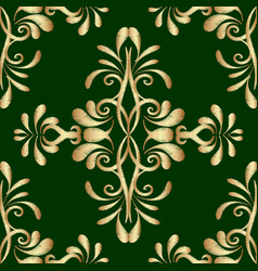 embroidery gold green damask seamless pattern vector image