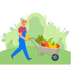 Farmer using carriage to transport vegetables vector